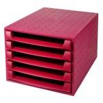 Бокс для бумаг Exacompta А4, 387х284х218мм, 5 секций, красный