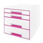 Бокс для бумаг Leitz Wow 286x282x358мм, 4 ящика, бело-розовый, 52131023