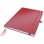 Блокнот Leitz Complete красный, А4, 80 листов, в клетку, на сшивке, с резинкой, твердая обложка, 447
