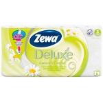 Туалетная бумага Zewa Deluxe ромашка, белая, 3 слоя, 8 рулонов, 150 листов, 21м