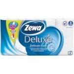 Туалетная бумага Zewa Deluxe без аромата, белая, 3 слоя, 8 рулонов, 150 листов, 21м