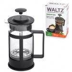Чайник заварочный френч-пресс Waltz Утро 350мл, черный, стекло/пластик