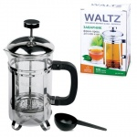 Чайник заварочный френч-пресс Waltz Modern 350мл, с пластиковой ложкой, стекло/пластик/нержавеющая с