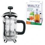 Чайник заварочный френч-пресс Waltz Modern 600мл, с пластиковой ложкой, стекло/пластик/нержавеющая с