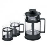 Набор для заваривания чая Waltz Утро френч-пресс (800мл)+2 стакана (по 200мл), стекло/пластик, черный