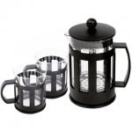 Набор для заваривания чая Waltz Калейдоскоп френч-пресс (800мл)+2 стакана (по 250мл), стекло/пластик, черный