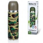 Термос с узким горлом Waltz 0.5л, нержавеющая сталь, хаки