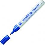 Маркер перманентный Edding 2000 синий, 1.5-3мм, круглый наконечник, универсальный, заправляемый, алюминиевый корпус, синий