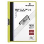 Пластиковая папка с клипом Durable Duraclip, А4, до 30 листов, зеленая