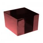 Подставка для бумажного блока Оскол-Пласт бордовая, 9х9х4.5см, пластик