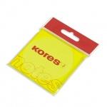 Блок для записей с клейким краем Kores, неон, 75x75мм, 100 листов, желтый
