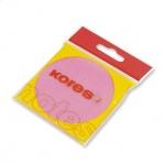 Блок для записей с клейким краем Kores, неон, 75x75мм, 100 листов, розовый