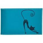 Визитница Befler Изящная кошка на 40 визиток, бюрюзовая, натуральная кожа