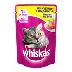 Влажный корм для кошек Whiskas Мясной паштет из курицы с индейкой, 85г