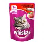 Влажный корм для кошек Whiskas Мясной паштет из говядины с печенью, 85г