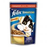 Влажный корм для кошек Felix Sensations, 85г, говядина/томат