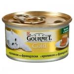 Консервы для кошек Gourmet Gold кусочки в паштете с кроликом по-французски, 85г, ж/б
