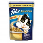 Влажный корм для кошек Felix Sensations с курицей в желе с морковью, 85г