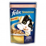 Влажный корм для кошек Felix Sensations с лососем в желе со вкусом трески, 85г