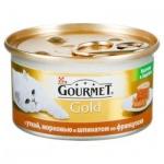 Консервы для кошек Gourmet Gold кусочки в паштете с уткой/ морковью/ шпинатом по-французски, 85г, ж/