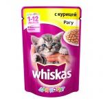 Влажный корм для котят Whiskas Рагу с курицей, 85г