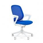 Кресло офисное Chairman 820 ткань, голубая, крестовина пластик, белая