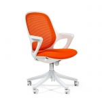 Кресло офисное Chairman 820 ткань, оранжевая, крестовина пластик, белая