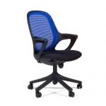 Кресло офисное Chairman 820 ткань, крестовина пластик, черная, голубое