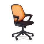 Кресло офисное Chairman 820 ткань, крестовина пластик, черная, оранжевое