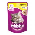 Влажный корм для кошек Whiskas Рагу, 85г, с курицей
