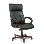 Кресло руководителя Chairman 421 нат. кожа, черная, крестовина дерево