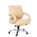 Кресло руководителя Chairman 444 нат. кожа, бежевая, крестовина хром