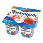 Йогурт Эрмигурт Молочный клубника, 3.2%, 4х115г