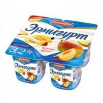 Йогурт Эрмигурт Молочный персик-манго, 3.2%, 4х115г