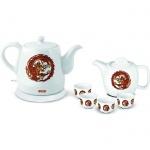 Чайник электрический Mystery MEK-1624 белый, 1.2 л, 1500 Вт, с заварочным чайником и 4 пиалами