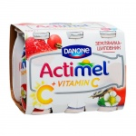 Кисломолочный напиток Actimel натуральный, земляника/шиповник  100г х 6шт