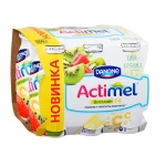 Кисломолочный напиток Actimel натуральный, киви/клубника  100г х 6шт
