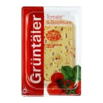 Сыр в нарезке Gruntaler 30% Tomate Basilikum томатный с базиликом, 250г, Россия