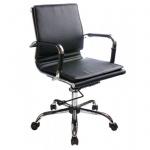 Кресло руководителя Бюрократ CH-993-Low иск. кожа, черная, крестовина хром, низкая спинка