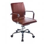 Кресло руководителя Бюрократ CH-993-Low иск. кожа, коричневая, крестовина хром, низкая спинка