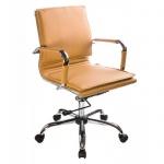 Кресло руководителя Бюрократ CH-993-Low иск. кожа, крестовина хром, светло-коричневое