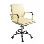 Кресло руководителя Бюрократ CH-993-Low иск. кожа, слоновая кость, крестовина хром, низкая спинка