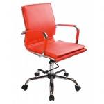 Кресло руководителя Бюрократ CH-993-Low иск. кожа, крестовина хром, красный