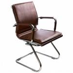 Кресло посетителя Бюрократ CH-993-LOW-V иск. кожа, на полозьях, коричневое