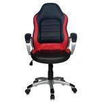 Кресло руководителя Бюрократ CH-825S иск. кожа, черная, красная, крестовина пластик