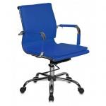 Кресло руководителя Бюрократ CH-993 иск. кожа, синяя, крестовина хром, низкая спинка