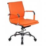 Кресло руководителя Бюрократ CH-993 иск. кожа, оранжевая, крестовина хром, низкая спинка