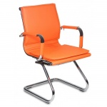 Кресло посетителя Бюрократ CH-993-LOW-V иск. кожа, на полозьях, оранжевое