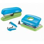 Набор мини-степлер + дырокол + скобоудалитель Rapid F5, синий/зеленый