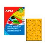 Этикетки цветные флюорисцентные Apli 2867, d=60мм, 240шт, оранжевые